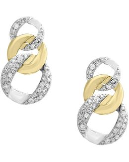 Duo Diamond And 14k White And Yellow Gold Earrings