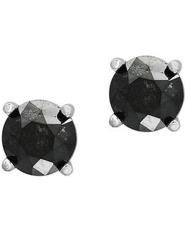 Caviar Black Diamond And White Gold Earrings