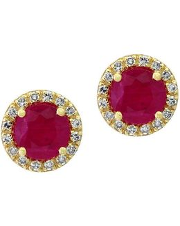 Amoré Natural Ruby, Diamond And 14k Yellow Gold Stud Earrings