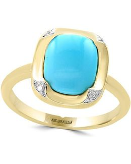 Turquesa Diamond, Turquoise And 14k Yellow Gold Ring