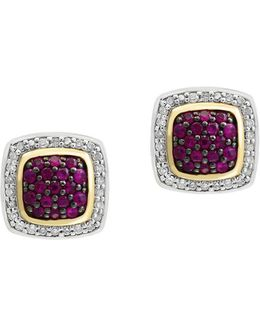 925 Diamond, Ruby, 18k Yellow Gold And Sterling Silver Earrings