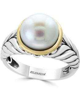 White Round Fresh Water Pearl, 18k Yellow Gold And Sterling Silver Ring