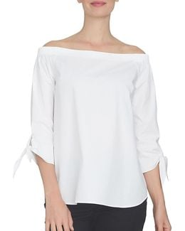 Spring Meadow Off-the-shoulder Cotton Shirt