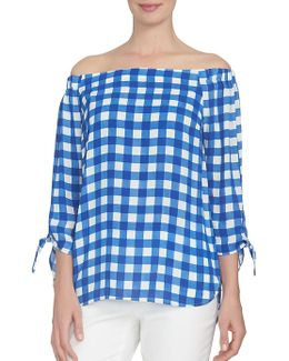 Spring Meadow Off-the-shoulder Checked Top