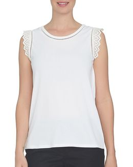 Solid Sleeveless Cutout Top