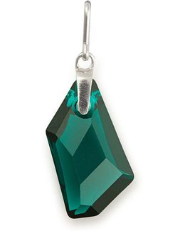 May Birthstone Emerald-color Crystal Sterling Silver Charm