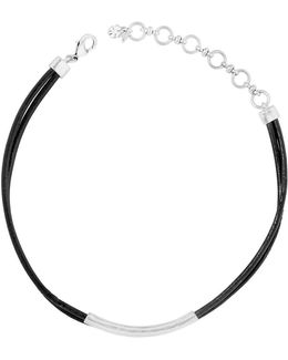 Trend Chokers Semi-precious Rock Crystal And Leather Necklace