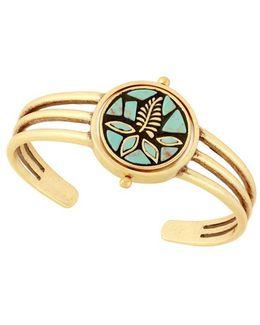 Tropical Turquoise Semi-precious Reconstituted Calcite Mosaic Cuff Bracelet