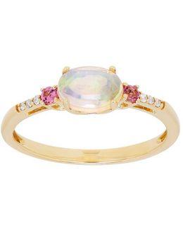 Opal, Pink Tourmaline And Diamond 14k Yellow Gold Ring