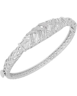 Diamond And Sterling Silver Round Bangle