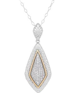 Diamond, Sterling Silver And 14k Yellow Gold Pendant Necklace