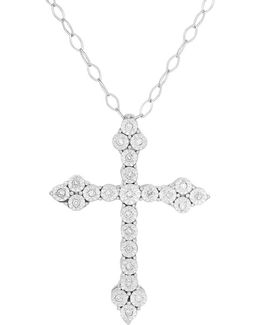 Diamond And Sterling Silver Cross Pendant Necklace