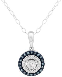 Diamond And Sterling Silver Round Pendant Necklace