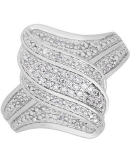 Diamond And Sterling Silver Wavy Ring