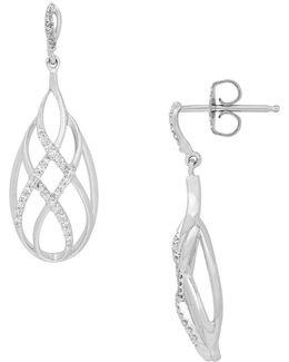 Diamond And Sterling Silver Drop Earrings