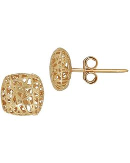 14k Yellow Gold Square Mesh Stud Earrings