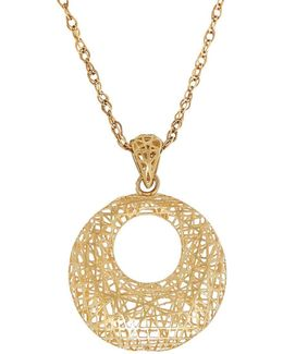 14k Yellow Gold Open Round Mesh Pendant Necklace