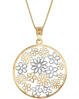 14k Yellow Gold Flowers In Circle On Box Necklace
