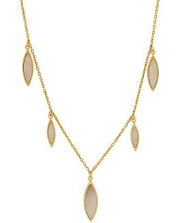 Mother Of Pearl And 14k Yellow Gold Teardrop Dangle Necklace