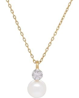 6-6.5mm Freshwater Pearl, Diamonds And 14k Yellow Gold Pendant Necklace