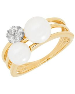6-6.5mm White Freshwater Pearl, Diamond And 14k Yellow Gold Ring