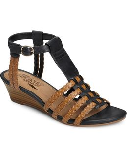 Bittersweet Faux Leather T-strap Wedge Sandals