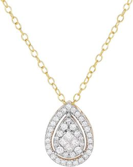 Diamonds And 14k Yellow Gold Teardrop Pendant Necklace