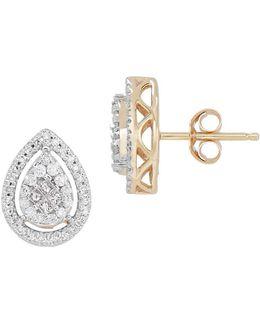 Diamonds And 14k Yellow Gold Earrings