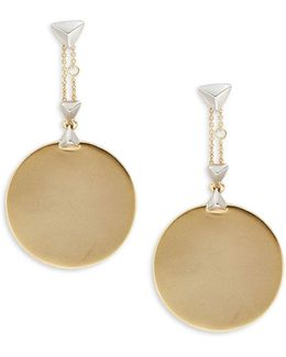 Stud Accented Disc Drop Earrings