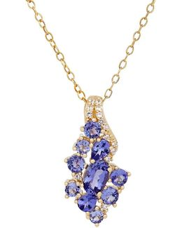 Tanzanite, White Topaz And 14k Yellow Gold Cluster Pendant Necklace