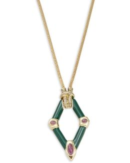 Stone Accented Geometric Pendant Necklace