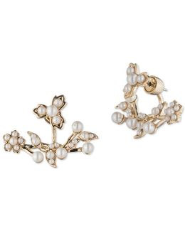 Faux Pearl Floral Floater Earrings