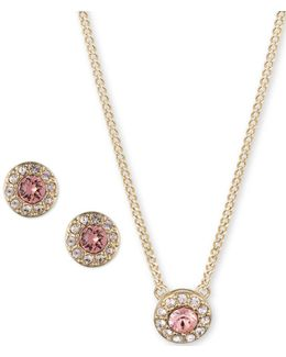 Pave Crystals Earrings And Pendant Necklace Set