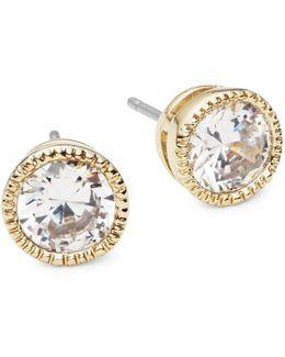 Faceted Stone Stud Earrings