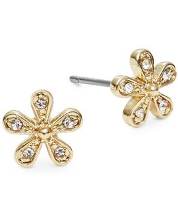 Stone-accented Floral Stud Earrings