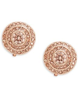 Round Stone-accented Clip-on Earrings