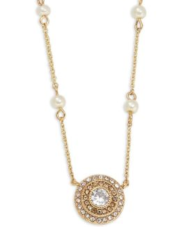 Cubic Zirconia And Faux Pearl Crystal Station Pendant Necklace