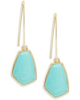 Turquoise And Caicos Linear Drop Pierced Earrings