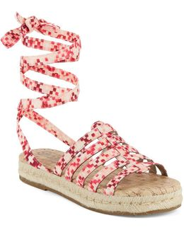 Ariel Printed Lace-up Espadrille Sandals