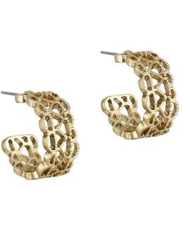 Pierced Band Hoop Earrings/1-inch