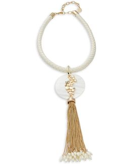 Gold Tassel Leather Braided Necklace