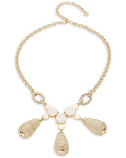Triple Beaded Wrap Drop Statement Necklace