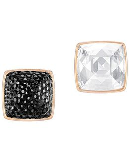 Glance Jet Crystal And Rose Gold Earrings