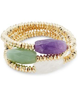 Summer Nights Amethyst, Aventurine And Rock Crystal Set Of 3 Stretch Bracelets
