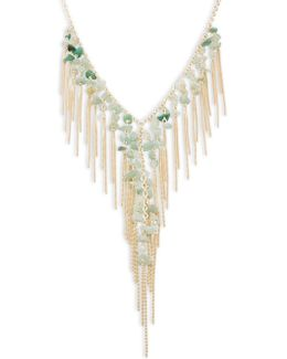Semi-precious Aventurine Fringe Necklace