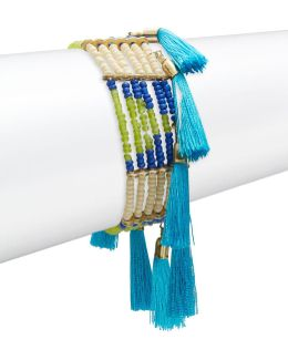 Beaded Tassel-accented Stretch Bracelet