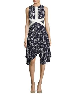 Printed Lace-trimmed Dress
