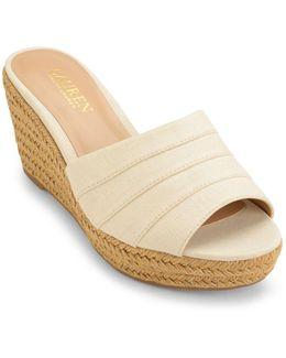 Karlia Linen Wedge Sandals