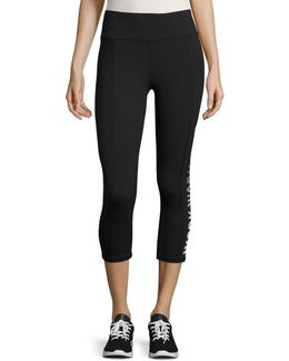 Text Graphic Active Cropped Leggings