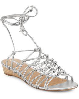 Caper Metallic Leather Cage Sandals